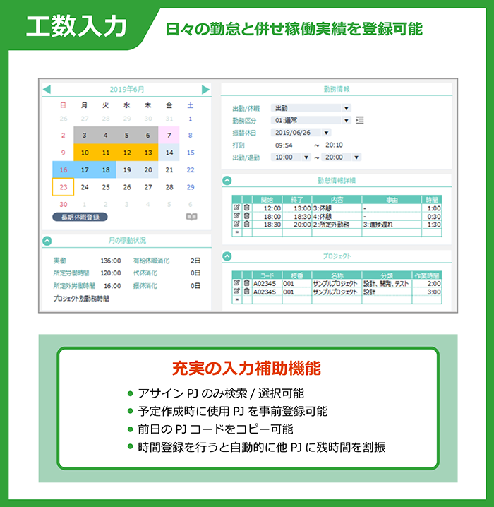 CC-BizMate Time Management 工数入力
