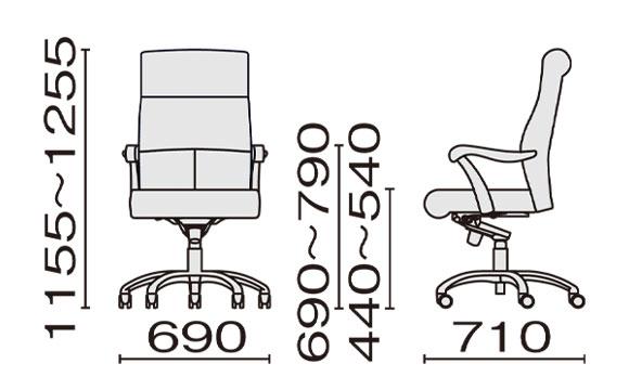 KH-48 ハイバック寸法図