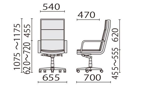KH-591 ハイバック寸法図