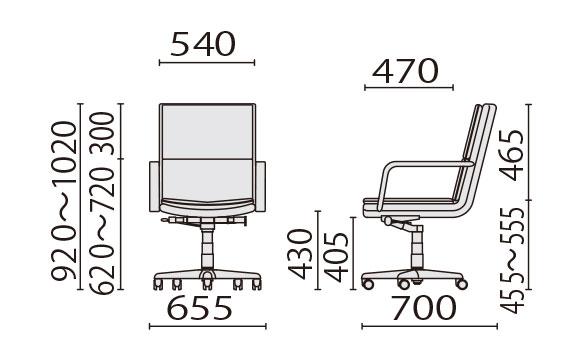 KH-597 ミドルバック寸法図