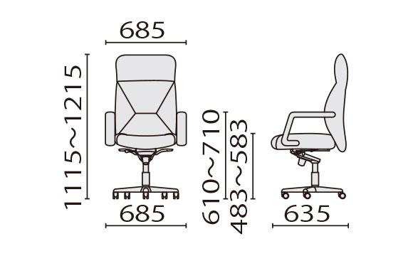 KH-86 ハイバック寸法図