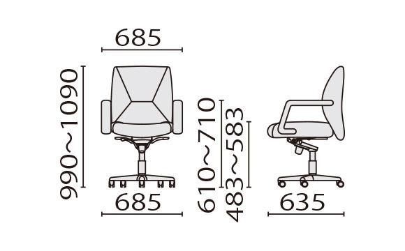 KH-86 ローバック寸法図