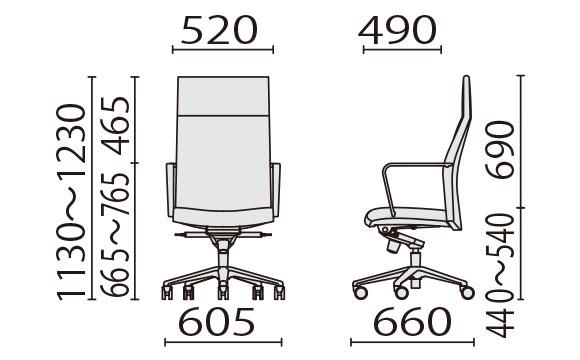 KH-55 ハイバック寸法図