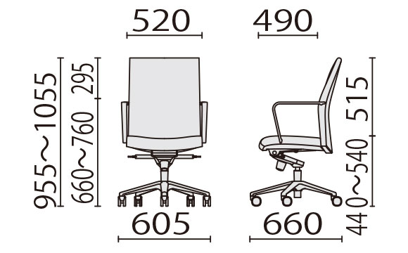 KH-55 ローバック寸法図