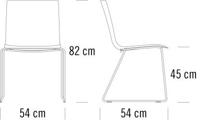 thonet S180 ST寸法図