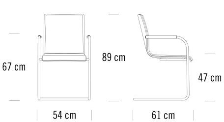 thonet S53 SPF寸法図