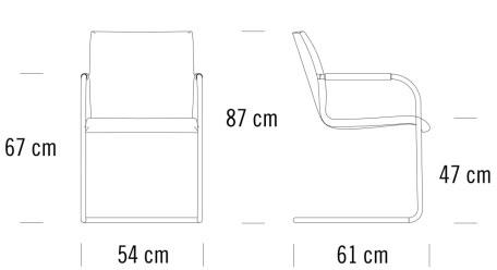 thonet S55 PF Evo寸法図