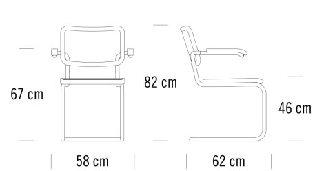 thonet S643寸法図