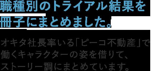 職種別のトライアル結果をこちらの冊子にまとめました。オキタ社長率いる「ピーコ不動産」で働くキャラクターの姿を借りて、ストーリー調にまとめています。